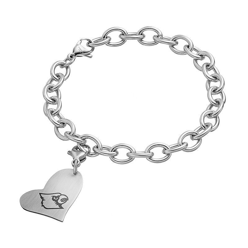 Fiora Stainless Steel Louisville Cardinals Heart Charm Bracelet