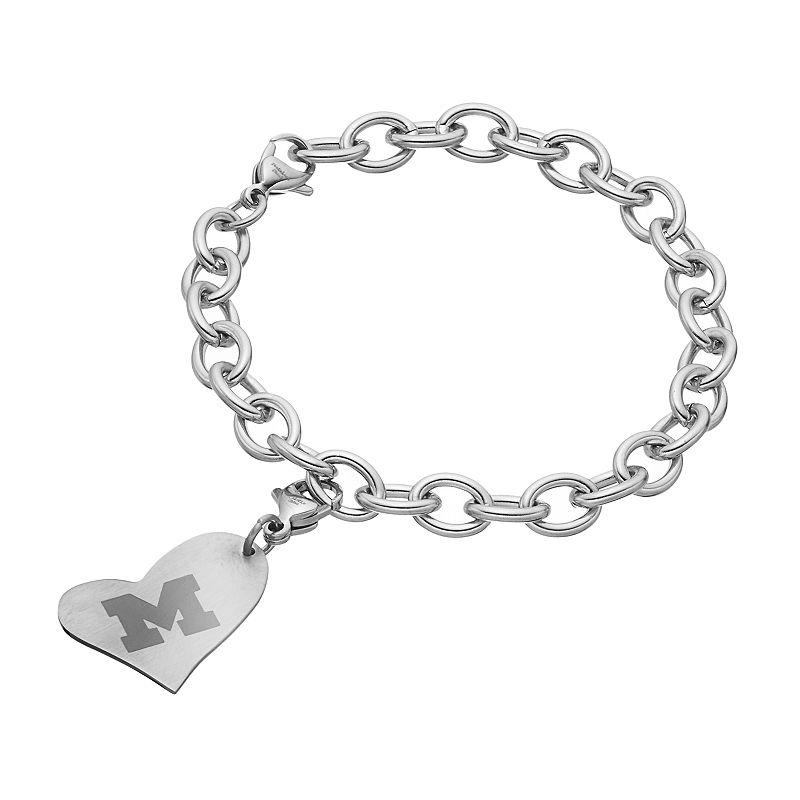 Fiora Stainless Steel Michigan Wolverines Heart Charm Bracelet