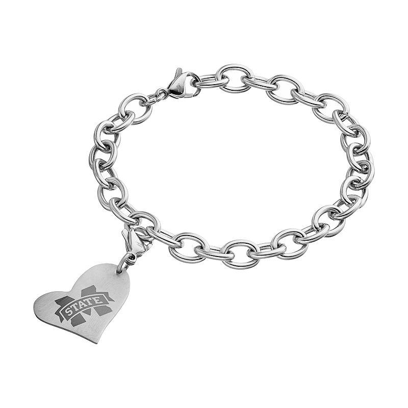 Fiora Stainless Steel Mississippi State Bulldogs Heart Charm Bracelet