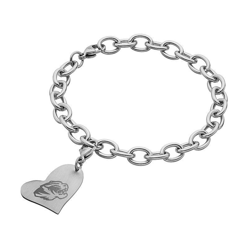Fiora Stainless Steel Missouri Tigers Heart Charm Bracelet
