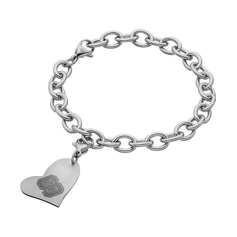 Fiora Stainless Steel North Carolina State Wolfpack Heart Charm Bracelet