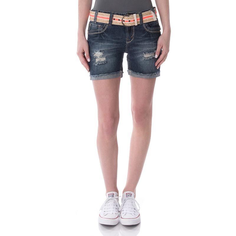 Juniors' Wallflower Destructed Cutoff Midi Shorts