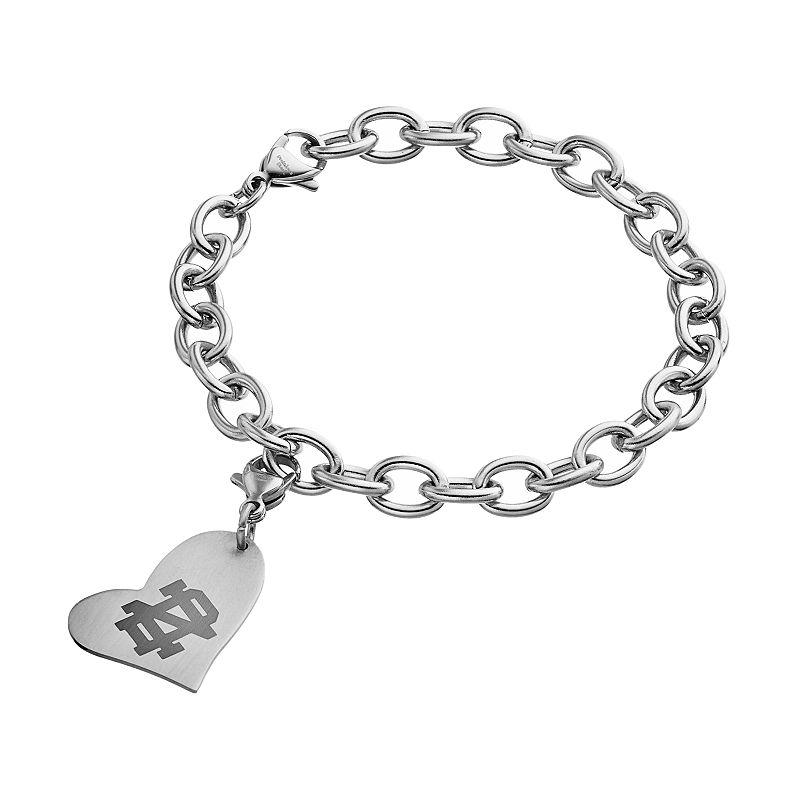 Fiora Stainless Steel Notre Dame Fighting Irish Heart Charm Bracelet