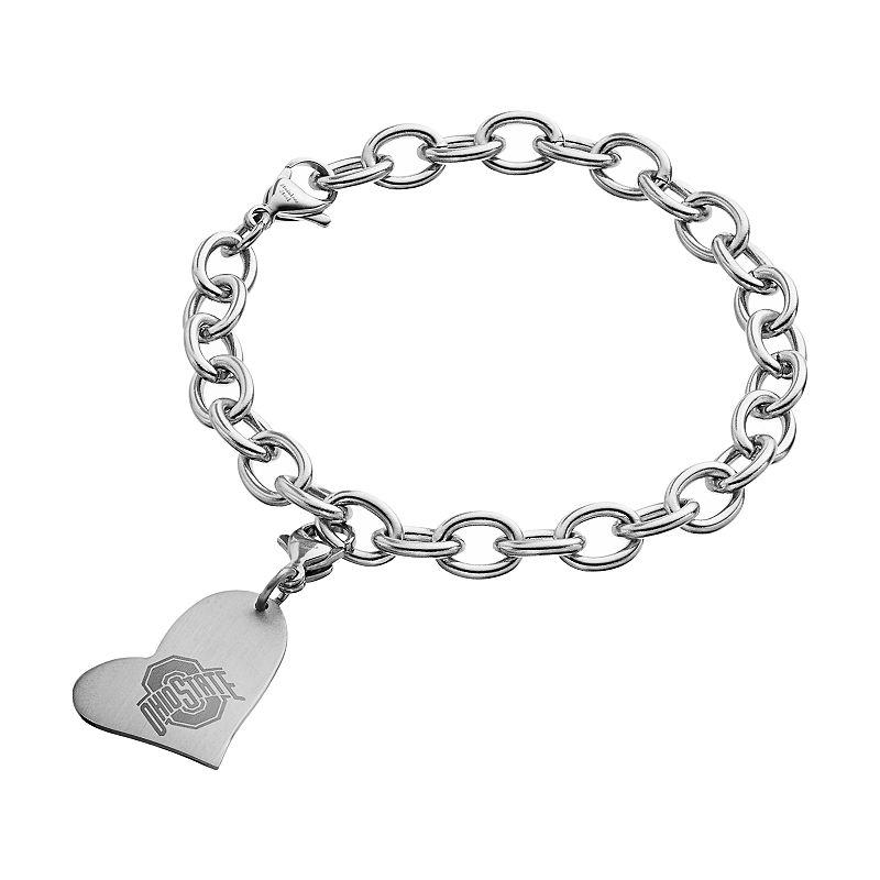 Fiora Stainless Steel Ohio State Buckeyes Heart Charm Bracelet