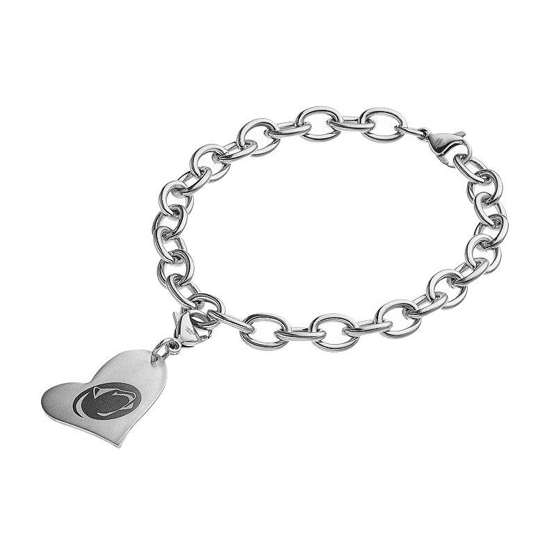 Fiora Stainless Steel Penn State Nittany Lions Heart Charm Bracelet