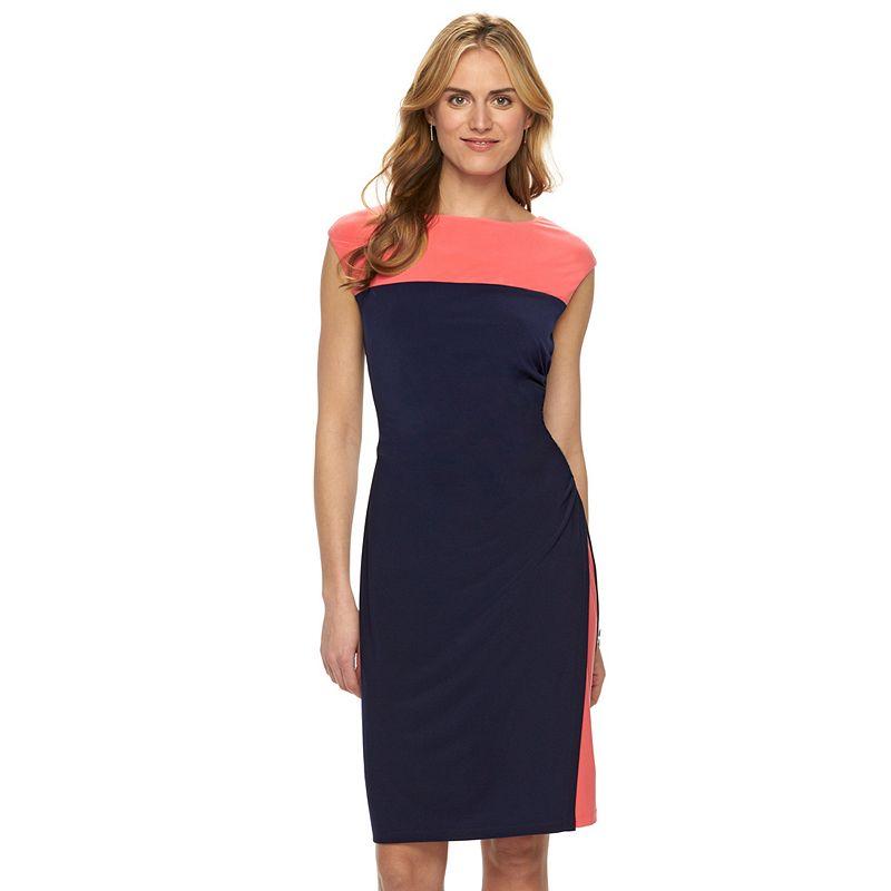 Women's Chaps Colorblock Ruched Dress