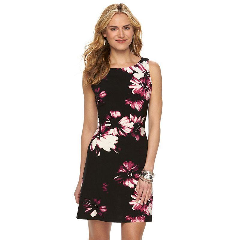 Women's Chaps Boatneck Floral Sheath Dress
