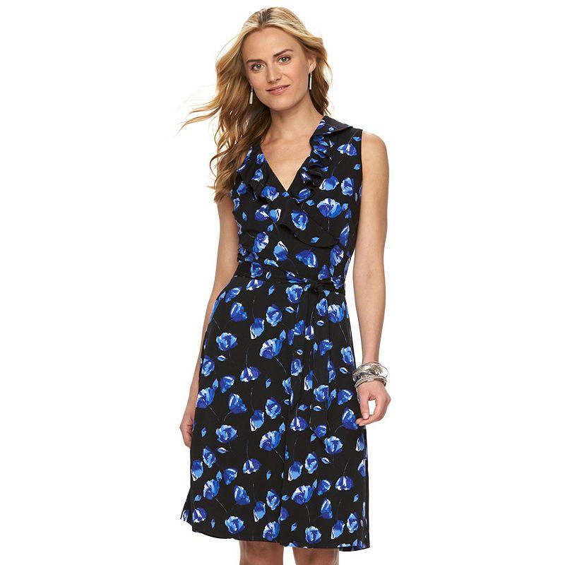 Women's Chaps Floral Faux-Wrap Ruffle Dress
