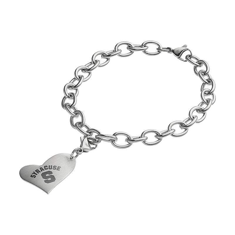 Fiora Stainless Steel Syracuse Orange Heart Charm Bracelet