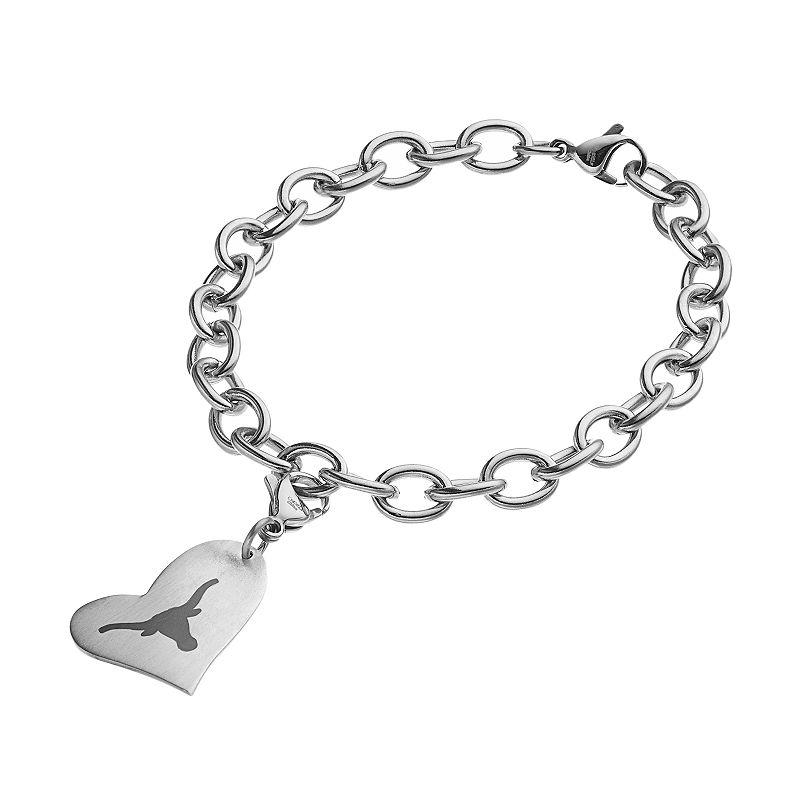 Fiora Stainless Steel Texas Longhorns Heart Charm Bracelet