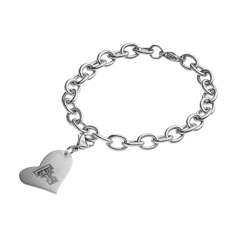 Fiora Stainless Steel Texas Tech Red Raiders Heart Charm Bracelet