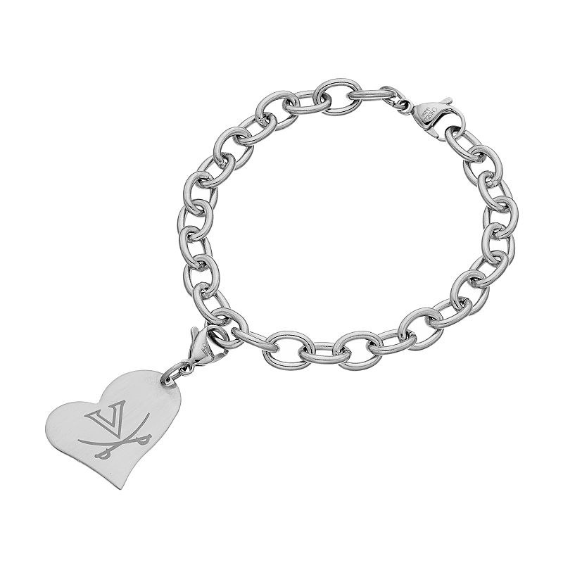 Fiora Stainless Steel Virginia Cavaliers Heart Charm Bracelet