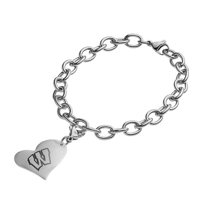 Fiora Stainless Steel Wisconsin Badgers Heart Charm Bracelet