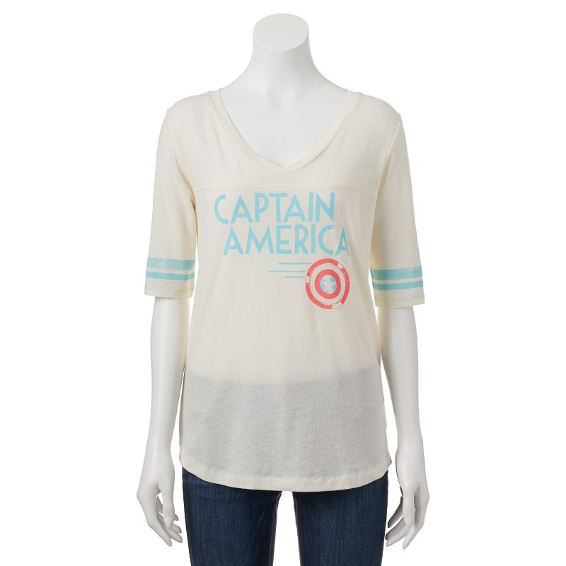 Juniors' Marvel Captain America Burnout Football Tee