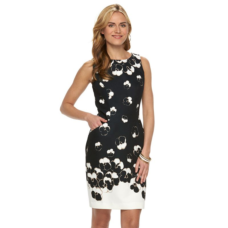 Women's Chaps Boatneck Floral Sheath Dress