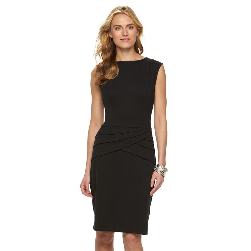 Women's Chaps Pleated Ponte Sheath Dress