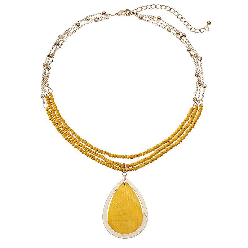 Yellow Beaded Multi Strand Teardrop Pendant Necklace