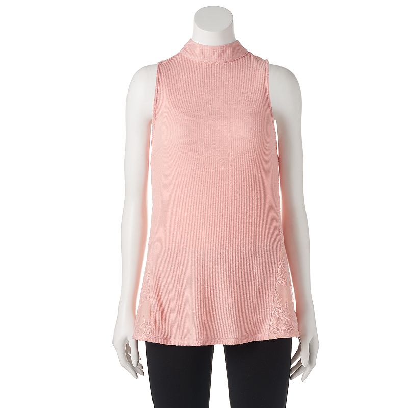 Juniors' Candie's® Lace Ribbed Tank Top