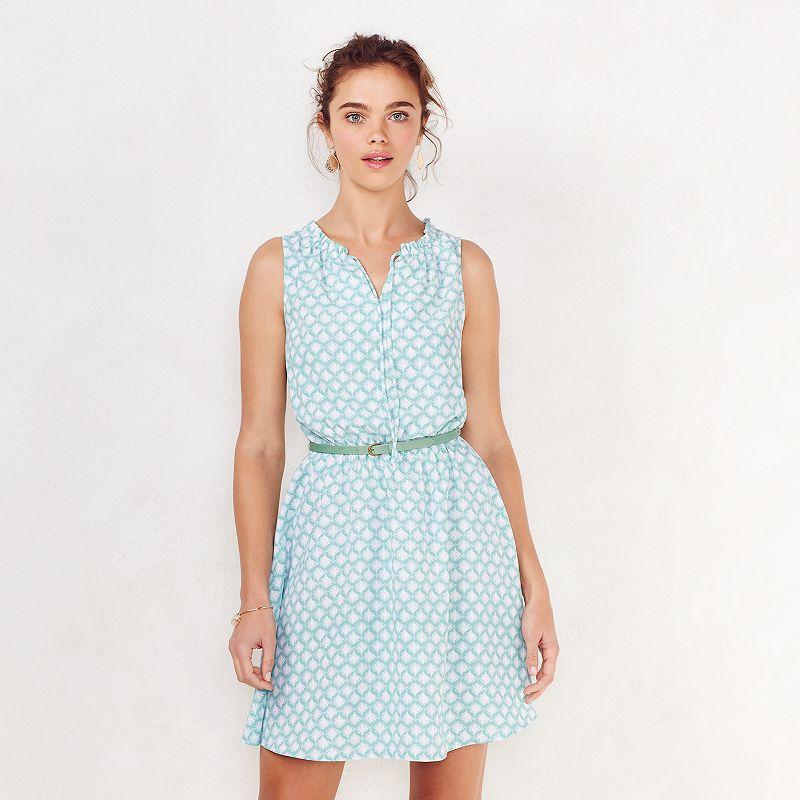 Women's LC Lauren Conrad Printed Ruffle Fit & Flare Dress