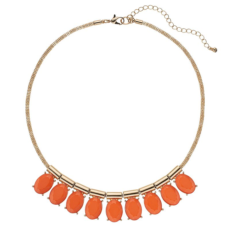 Orange Faceted Oval Mesh Chain Necklace