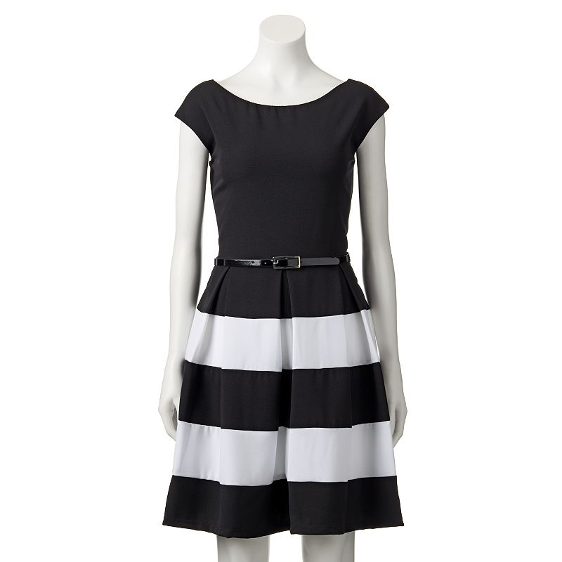 Women's Tiana B Striped Fit & Flare Dress