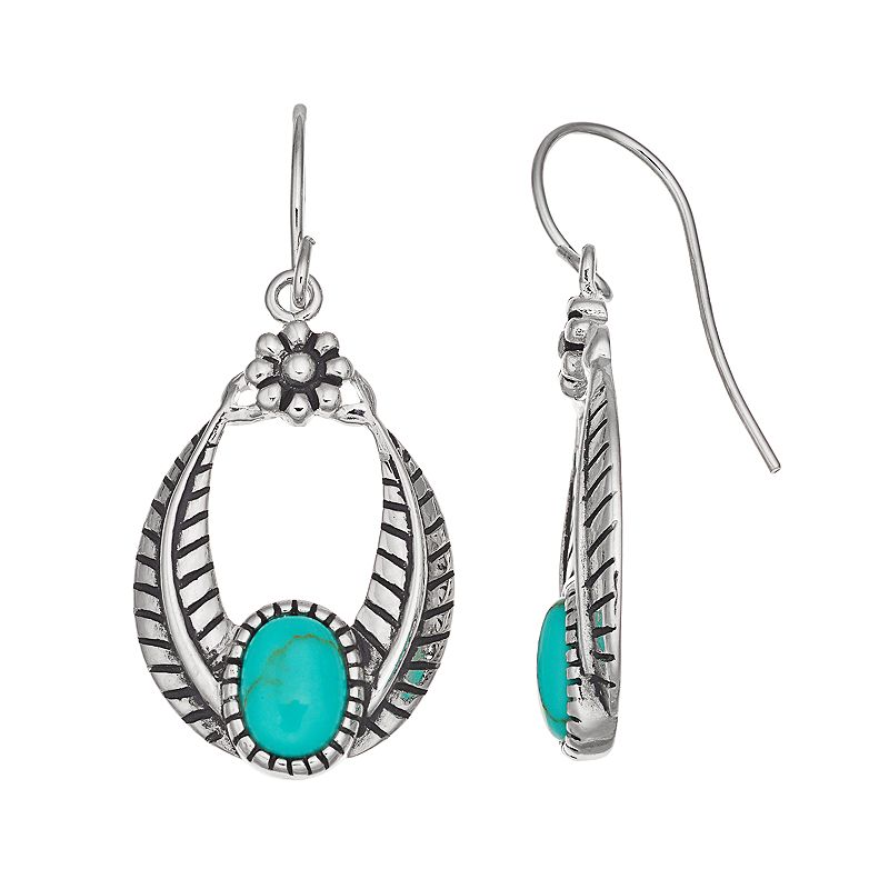 Sterling Silver Simulated Turquoise Textured Drop Earrings
