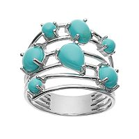 Sterling Silver Simulated Turquoise Cabochon Multirow Ring