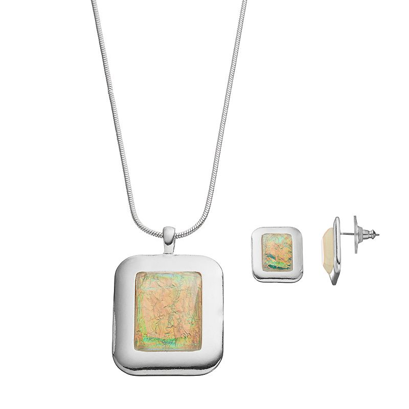 Square Simulated Abalone Pendant Necklace & Earring Set