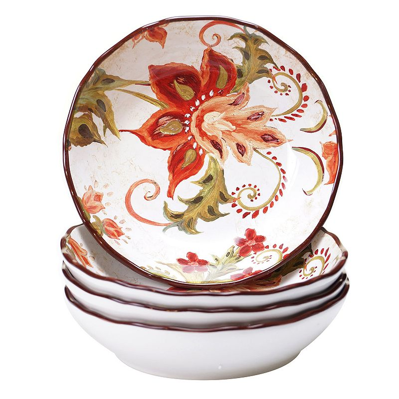 Certified International Spice Flowers 4pc. Soup / Cereal Bowl Set