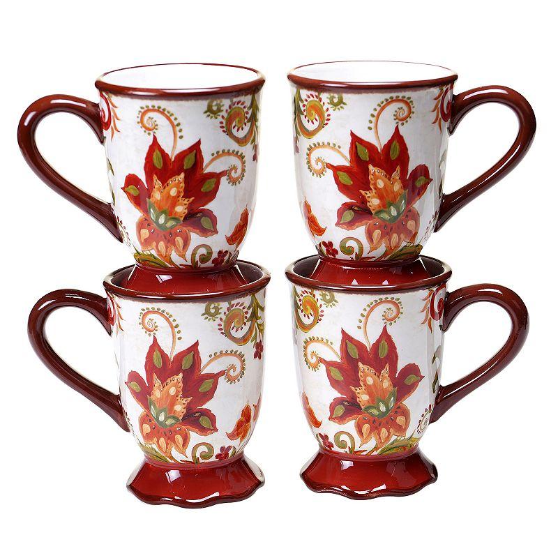 Certified International Spice Flowers 4-pc. Coffee Mug Set