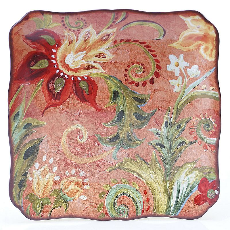 Certified International Spice Flowers 12.25-in. Square Serving Platter
