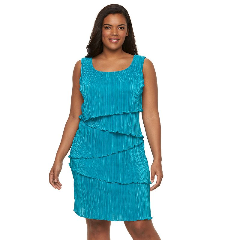 Plus Size Connected Apparel Accordion-Pleat Tiered Sheath Dress