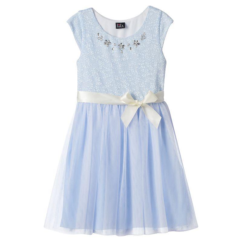 Girls 7-16 lilt Studded Tulle Dress