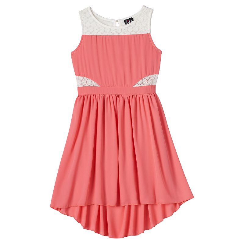 Girls 7-16 lilt Crochet Side High-Low Dress