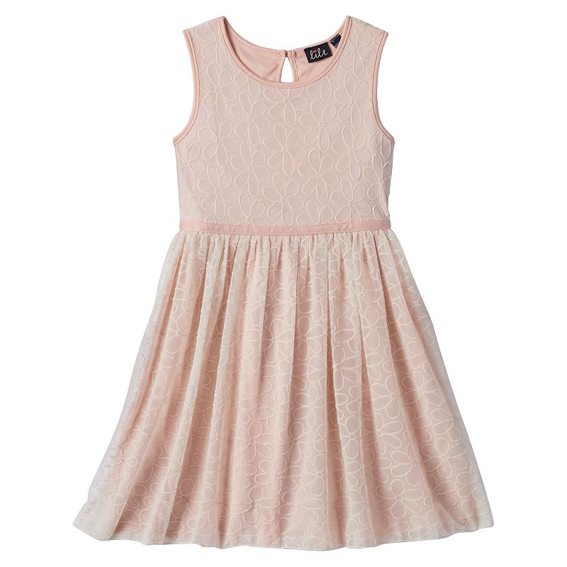 Girls 7-16 lilt Floral Embroidered Mesh Dress