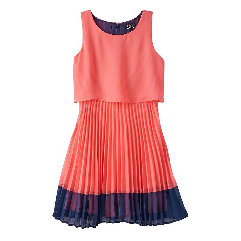 Girls 7-16 lilt Colorblock Pleated Dress