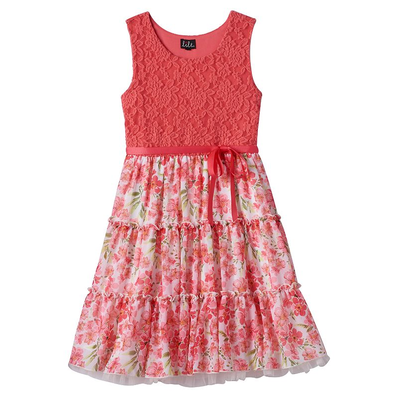 Girls 7-16 lilt Lace & Floral Tiered Dress