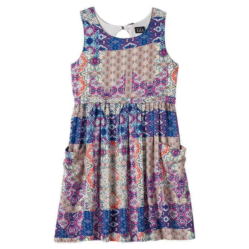 Girls 7-16 lilt Printed Bow-Back Dress