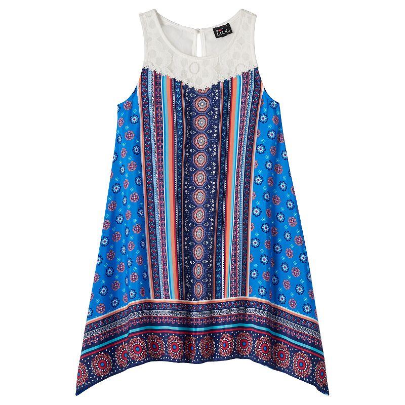 Girls 7-16 lilt Crochet Yoke Sharkbite Shift Dress