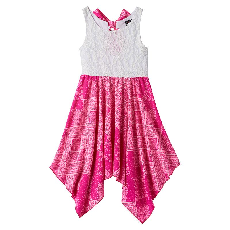 Girls 7-16 lilt Ribbon Bow Back Handkerchief Dress