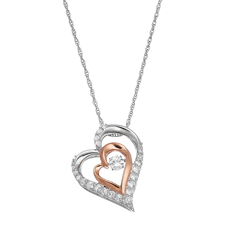 Two Tone Sterling Silver Lab-Created White Sapphire Double Heart Pendant