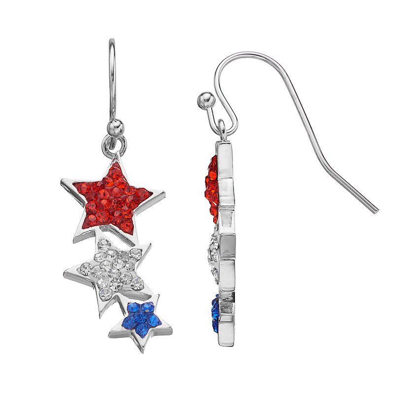 Red, White & Blue Crystal Triple Star Drop Earrings