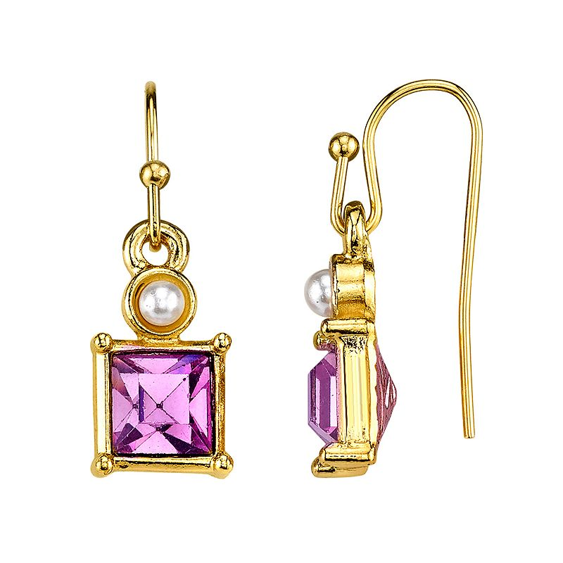 1928 Purple Square Drop Earrings