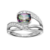 Sterling Silver Mystic Fire Topaz & Lab-Created White Sapphire Twist Ring