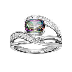 Sterling Silver Mystic Fire Topaz & Lab-Created White Sapphire Twist Ring by
