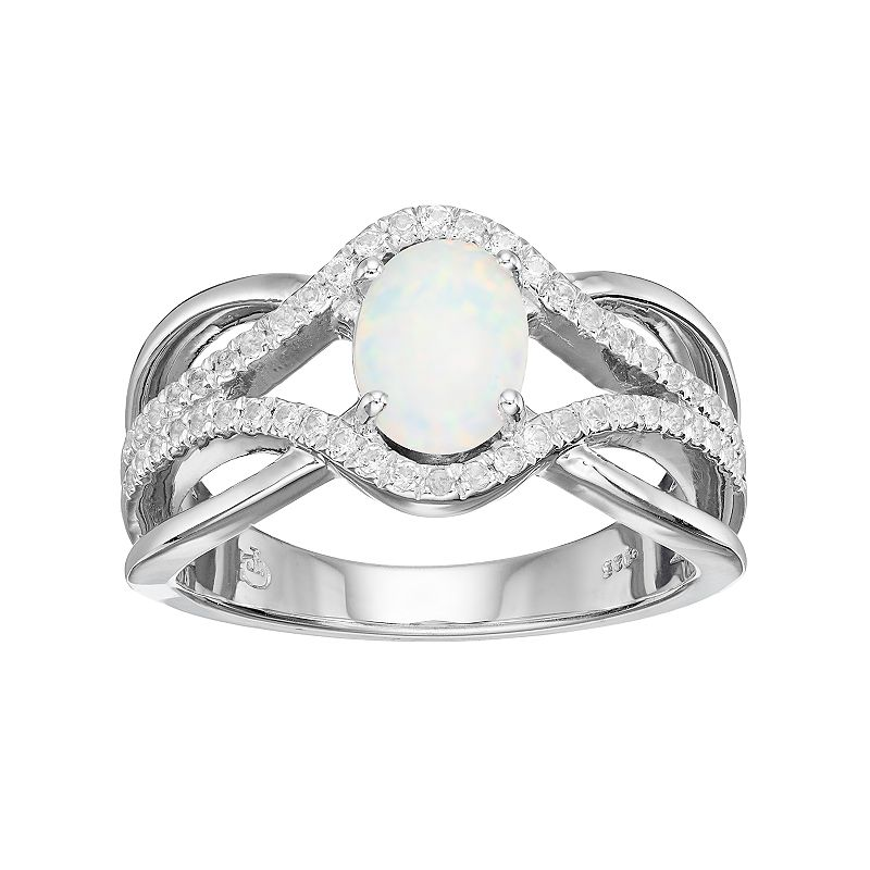 Sterling Silver Lab-Created White Opal & Lab-Created White Sapphire Swirl Ring
