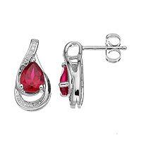 Sterling Silver Lab-Created Ruby Teardrop Earrings