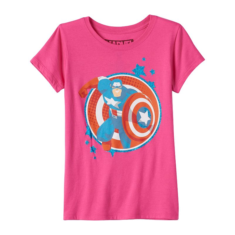 Girls 7-16 Marvel Captain America Shield Jumper Graphic Tee
