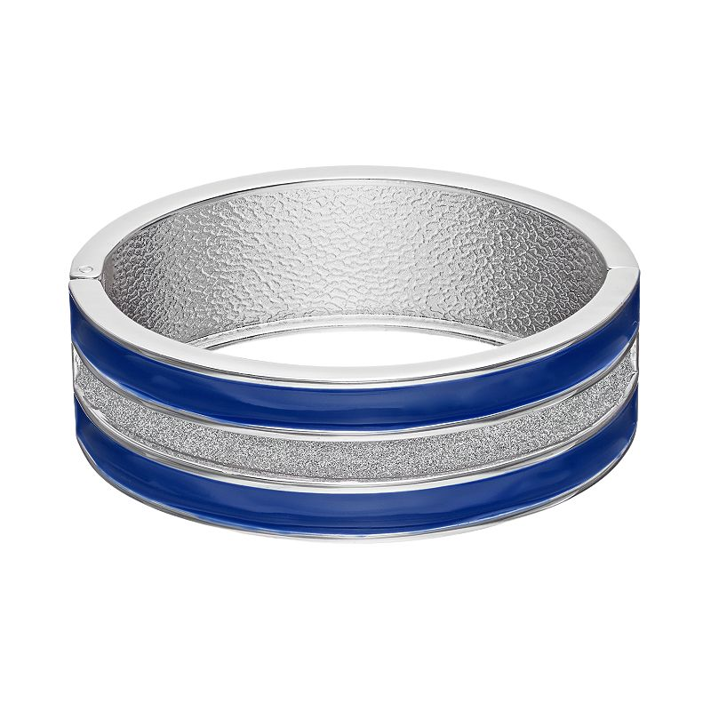 Striped Blue Hinged Bangle Bracelet