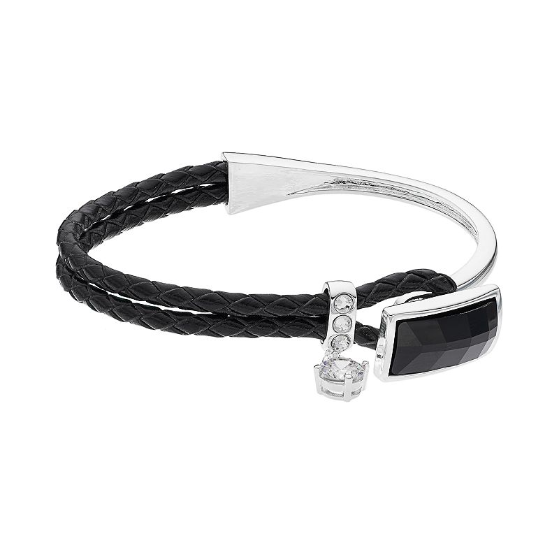 Crystal Brilliance Silver Plated Braided Black Faux Leather Bracelet